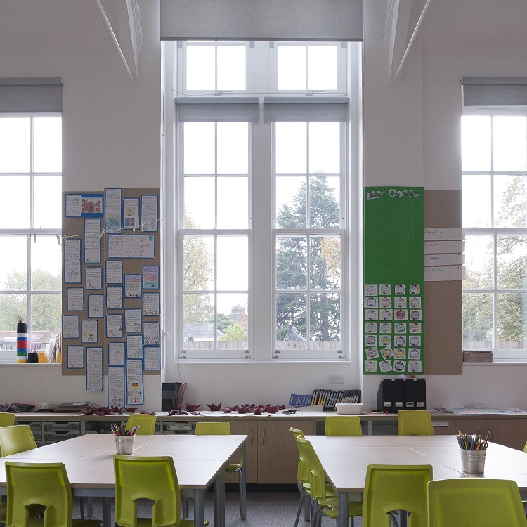 Classroom with new timber sliding sash windows at Dulwich Junior School