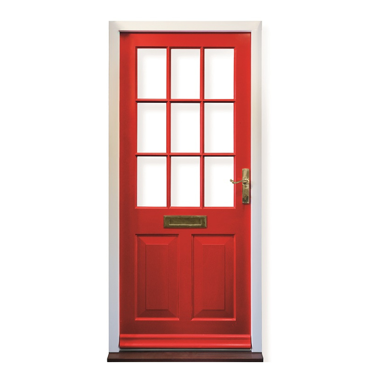 Historic Entrance Door in red with putty glazing