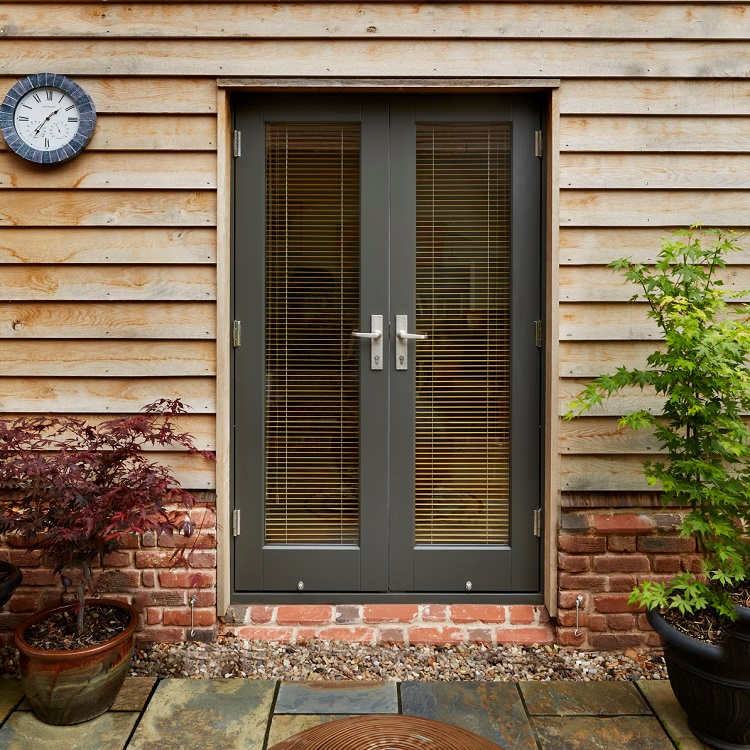 Timber French Doors in grey