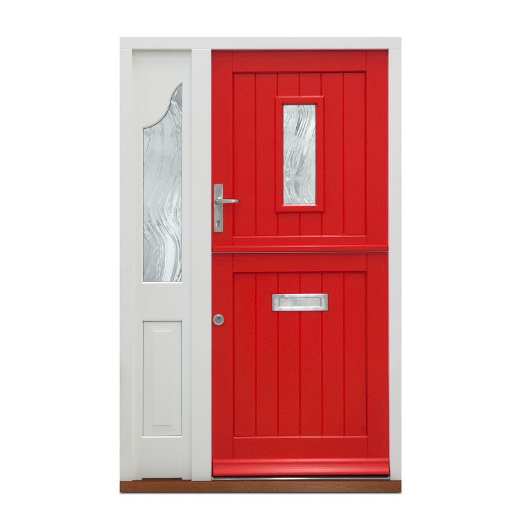 Timber Stable Door in red and used as the front door