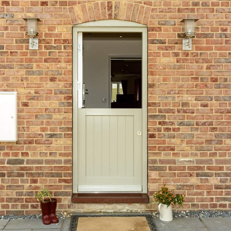 Timber stable door with top door open