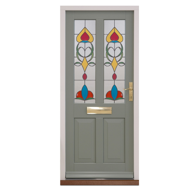 Traditional Entrance Door in pebble grey with stained glass