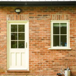 Traditional timber back door with glazing