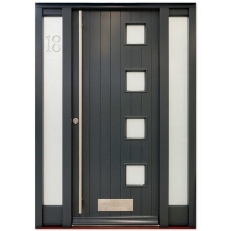 timber contemporary door etched glazing
