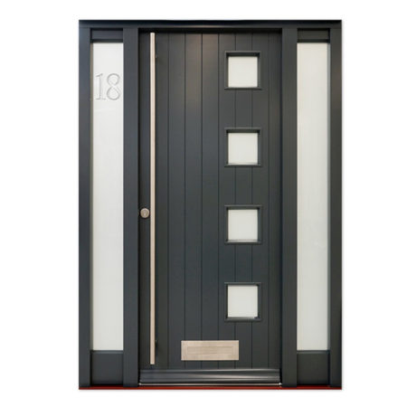 contempoary timber entrance door with etched glazing
