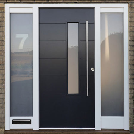 timber contemporary door black with stainless steel hardware