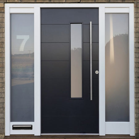 contempoary timber front door black with stainless steel hardware