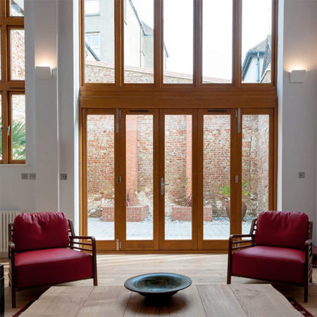 contemporary timber bifold doors
