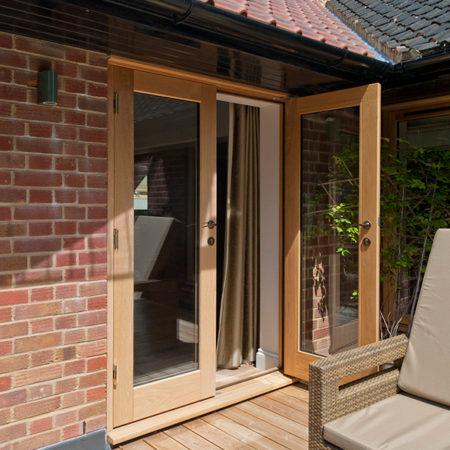 timber french doors in european oak