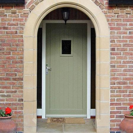 green timber entrance door