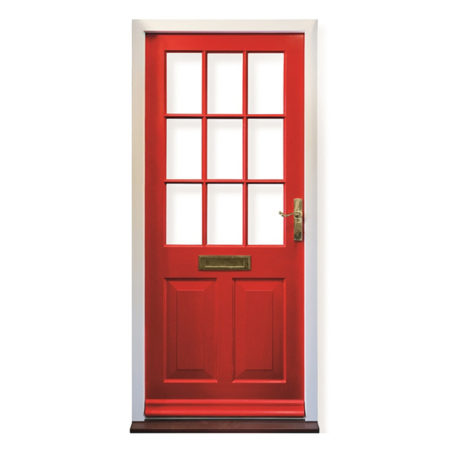 historic timber entrance door red with putty glazing