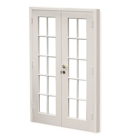 historic timber french doors with one handle opening
