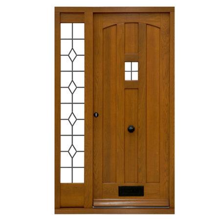 oak front door with leaded light side light