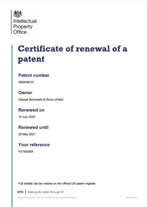 Certificate of Renewal of a Patent