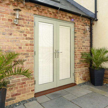 new build timber french doors integral blinds