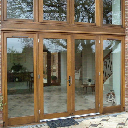 stained timber french doorset