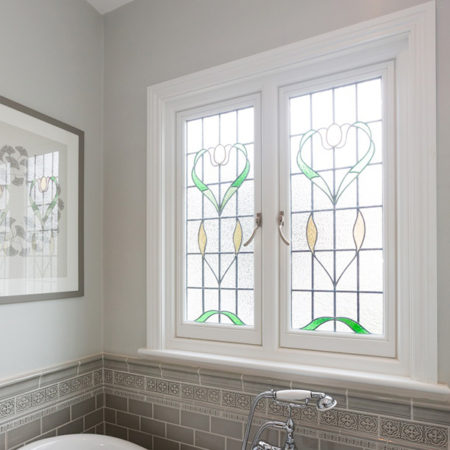 timber casement windows with leaded window pattern