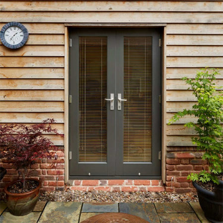 timber french doors grey