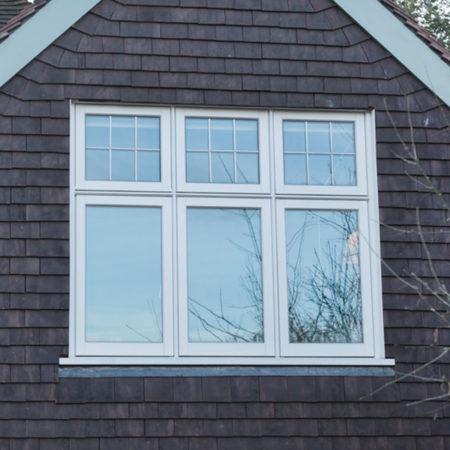 timber casement window leaded glass