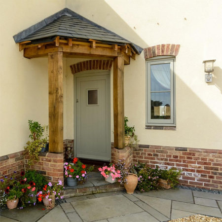 timber entrance door traditionally styled new build