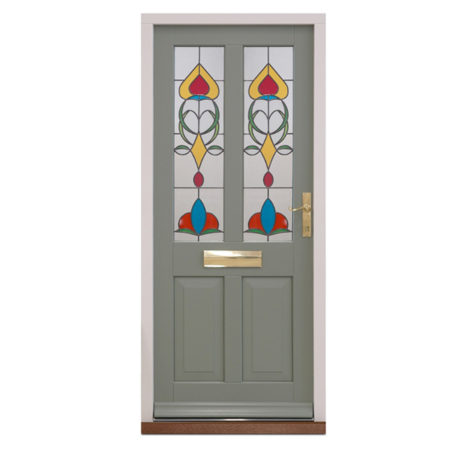 traditional timber entrance door in pebble grey with stained glass