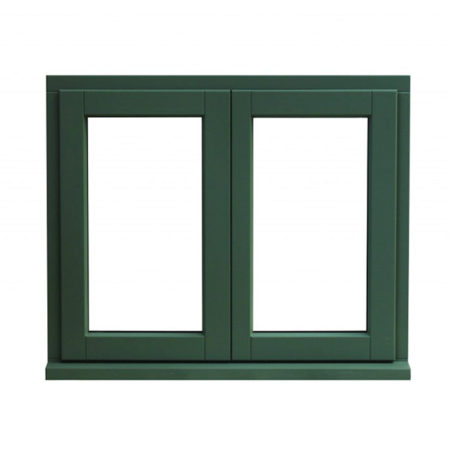 traditional stormproof timber casement window french mullion dual colour green