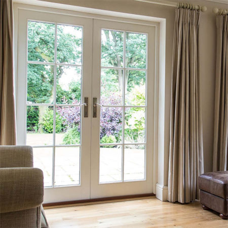 traditional timber french doors white with astragal bars
