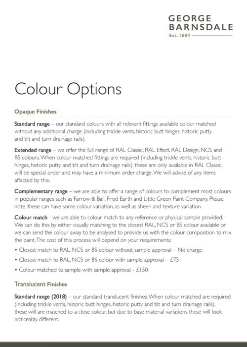 Paint Colour Options