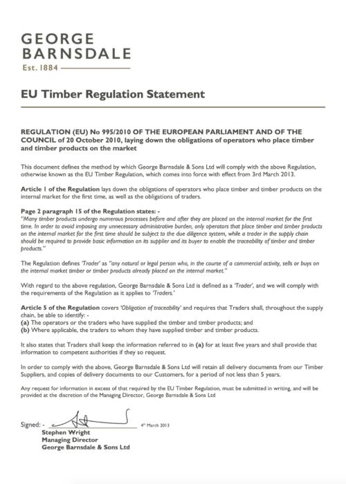 EU Timber Regulation Standard