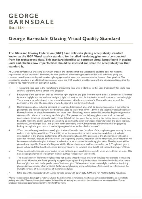 Glazing Visual Quality Standard
