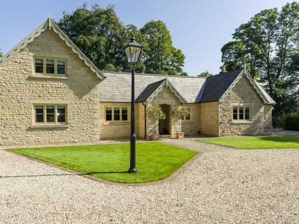 Beautiful Lincolnshire home, front of house showing casement windows and entrance door